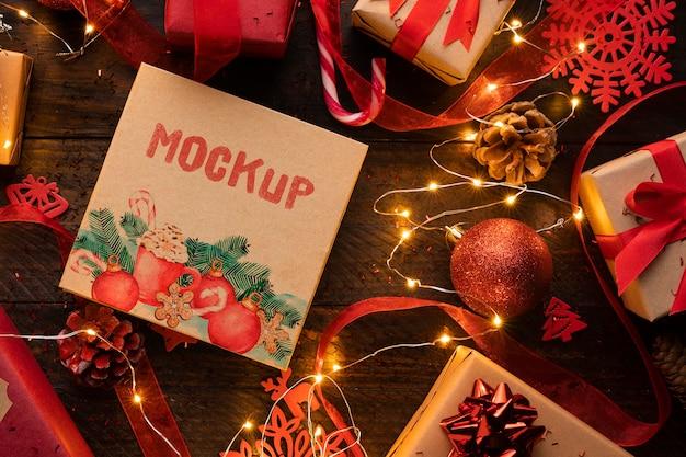 Maquete de natal com luzes e decoração de inverno Psd grátis