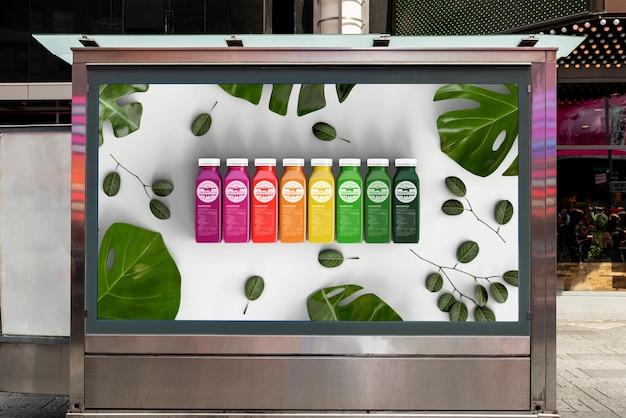 Maquete de outdoor com smoothies coloridos Psd grátis