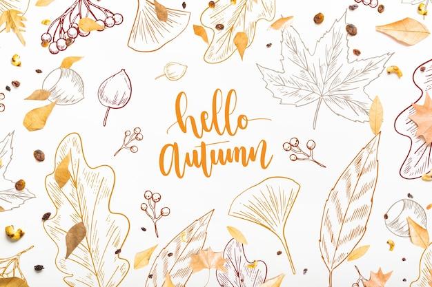Maquete de outono com folhas Psd grátis