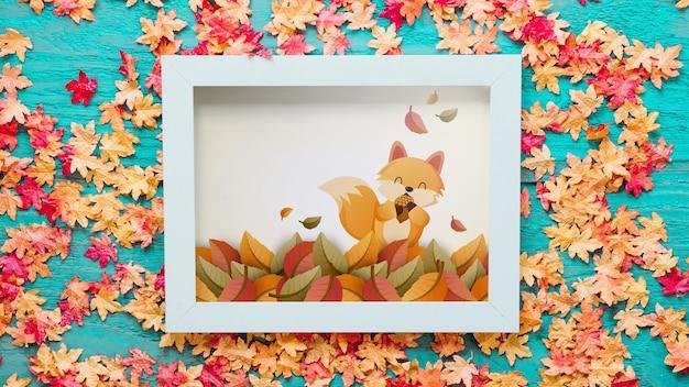 Maquete de outono com moldura Psd grátis
