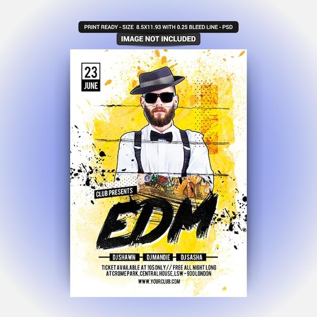 Maquete de panfleto de festa de discoteca Psd Premium