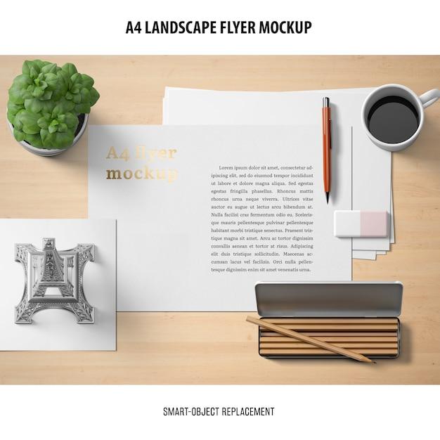 Maquete de panfleto de paisagem a4 Psd grátis