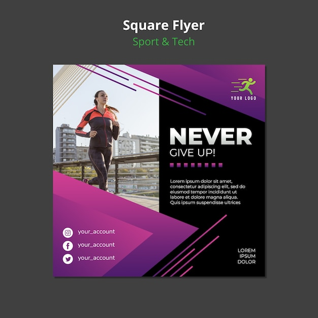 Maquete de panfleto quadrado de conceito de esporte e tecnologia Psd grátis