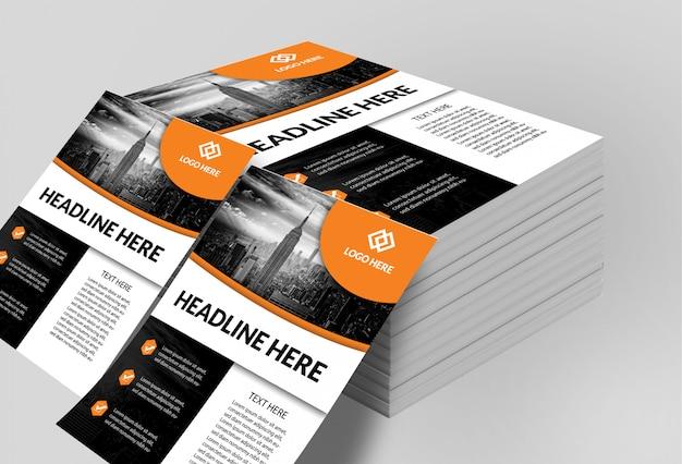 Maquete de panfletos empilhados Psd Premium