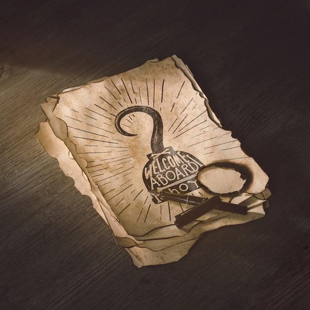 Maquete de papel antigo para o conceito de aventura Psd grátis