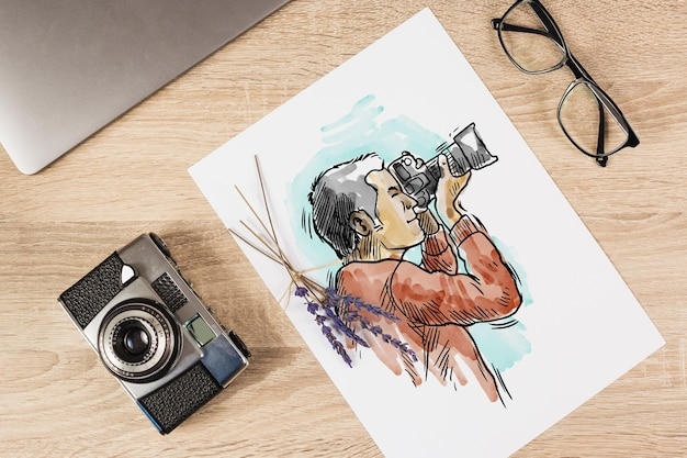Maquete de papel com conceito de fotografia Psd grátis