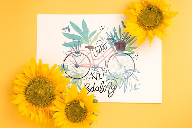 Maquete de papel com decoração floral Psd grátis