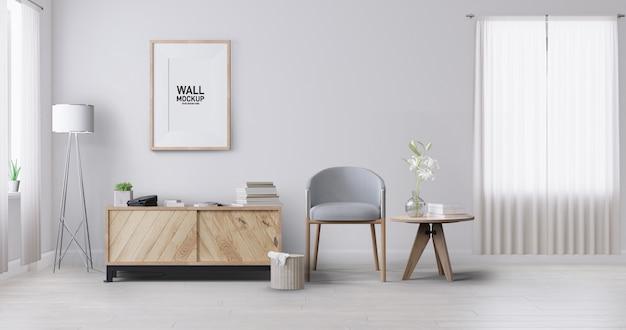 Maquete de papel de parede da sala interior. Psd Premium