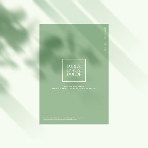 Maquete de papelaria com sombras de folhas Psd Premium