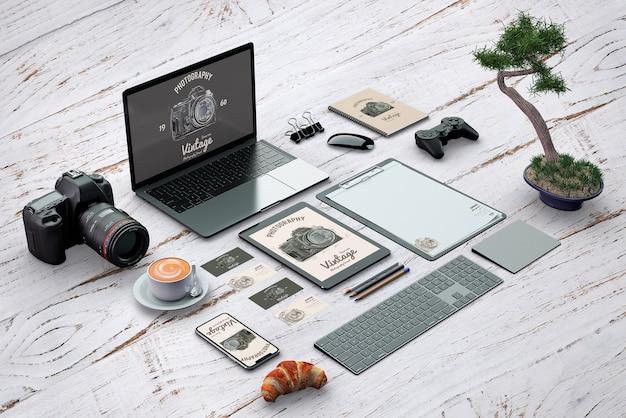 Maquete de papelaria isométrica com conceito de fotografia Psd grátis