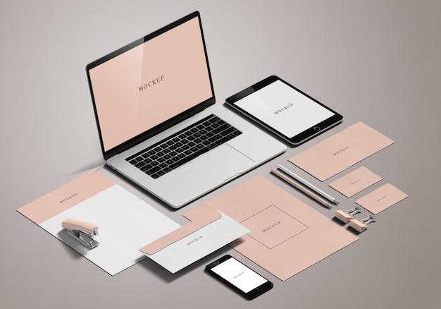 Maquete de papelaria Psd Premium