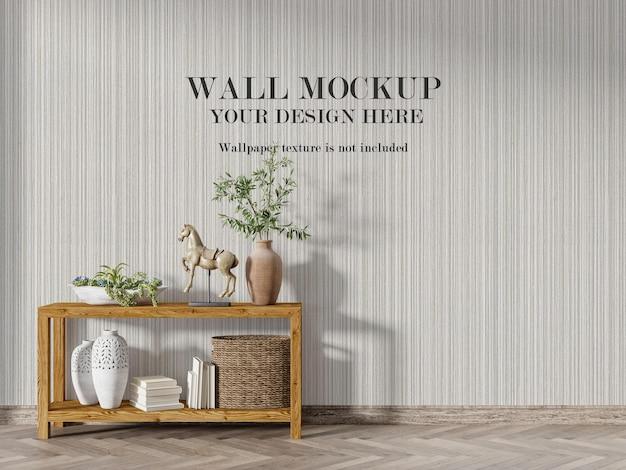 Maquete de parede atrás de mesa de console de madeira Psd Premium