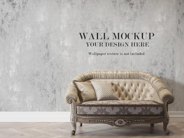 Maquete de parede atrás do design clássico do sofá Psd Premium