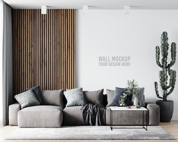 Maquete de parede da sala de estar interna Psd grátis