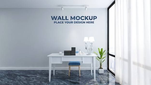 Maquete de parede de escritório bonita e elegante Psd Premium