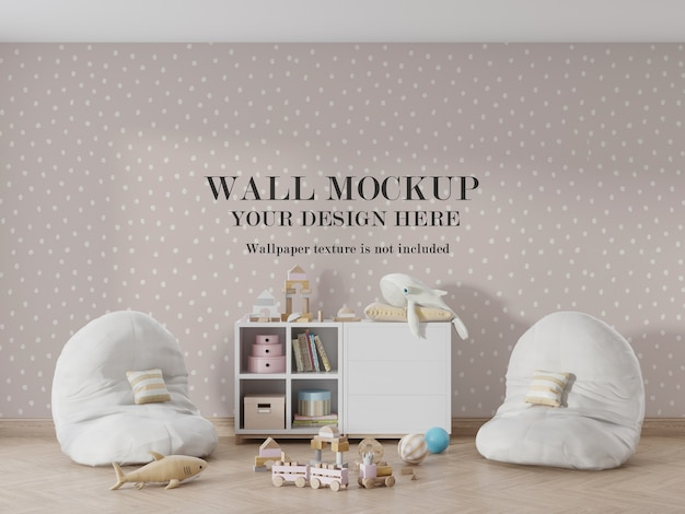 Maquete de parede de quarto infantil incrível com acessórios Psd Premium