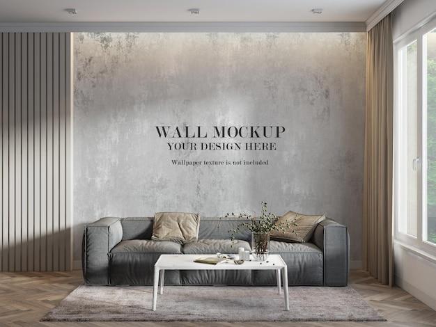 Maquete de parede em 3d renderização em sala iluminada Psd Premium