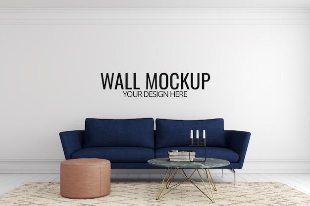Maquete de parede em branco interior com sofá e decoração Psd Premium
