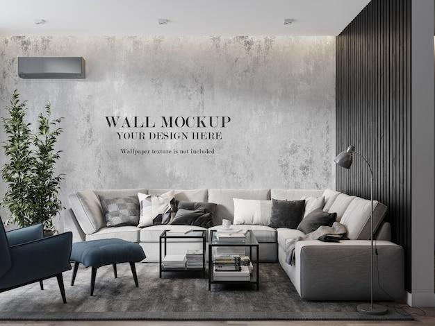 Maquete de parede em uma moderna sala de estar Psd Premium
