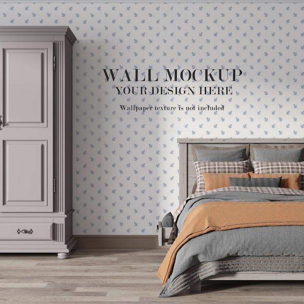 Maquete de parede vazia de quarto country com móveis minimalistas Psd Premium