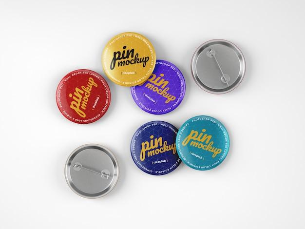 Maquete de pinos de botão brilhante Psd Premium