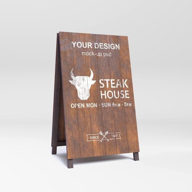 Maquete de placa de sinal de madeira Psd Premium