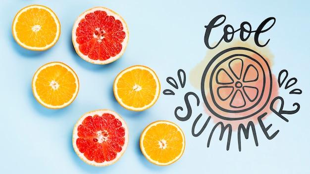 Maquete de plana colocar copyspace com frutas de verão Psd grátis