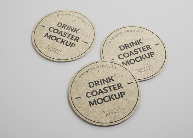 Maquete de porta-copos de cortiça redonda bebida em vista isométrica Psd Premium