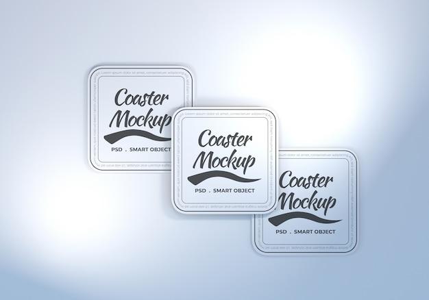 Maquete de porta-copos de mesa de retângulo arredondado Psd Premium