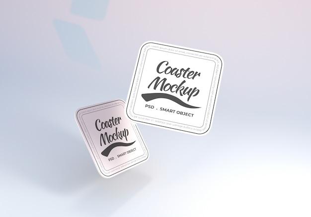 Maquete de porta-copos de mesa retangular retangular flutuante Psd Premium
