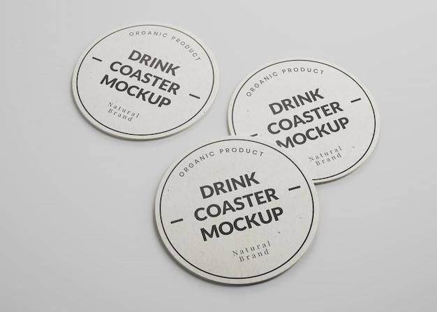 Maquete de porta-copos de papel redondo bebida em vista isométrica Psd Premium