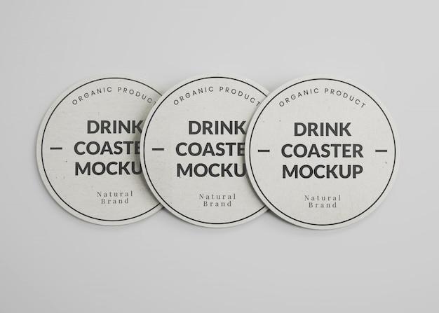 Maquete de porta-copos de papel redondo para bebidas na vista superior Psd Premium
