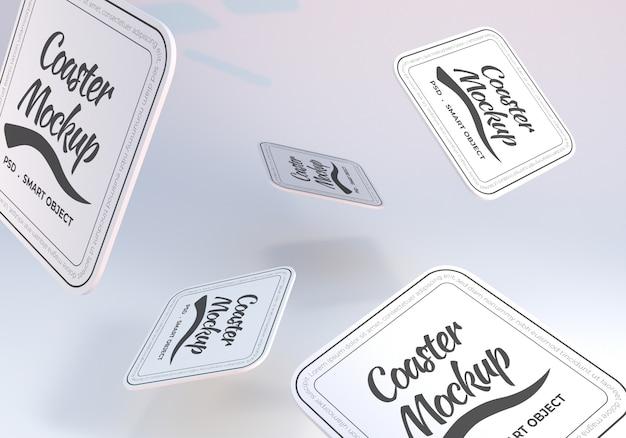 Maquete de porta-copos quadrado arredondado flutuante realista Psd Premium