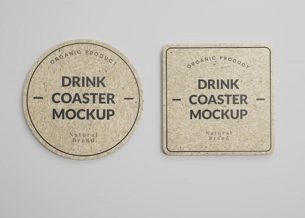 Maquete de porta-copos quadrados e redondos para bebidas em vista superior Psd Premium