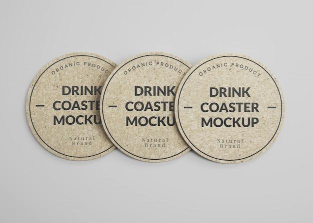 Maquete de porta-copos redondos para bebidas em cortiça na vista superior Psd Premium