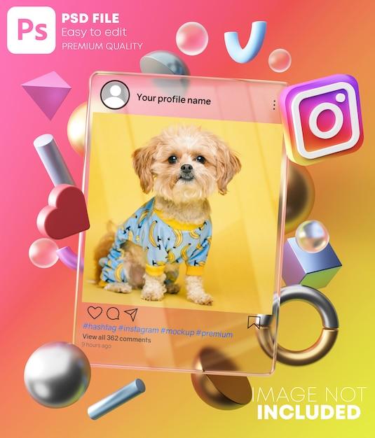 Maquete de postagem do instagram na moldura de vidro entre formas modernas 3d. no fundo colorido Psd Premium