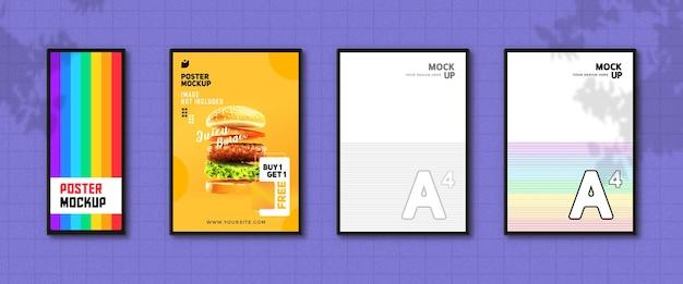 Maquete de pôster de restaurante moderno na parede Psd Premium