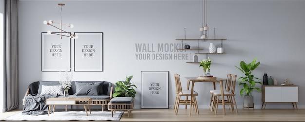 Maquete de pôster e interior de maquete de parede sala de estar escandinava e fundo da sala de jantar Psd Premium