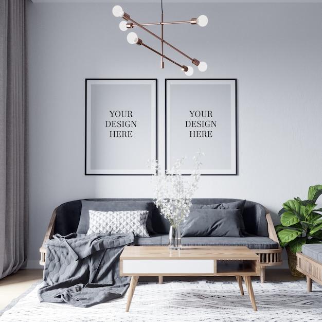 Maquete de pôster e maquete de parede interior da sala de estar escandinava Psd Premium