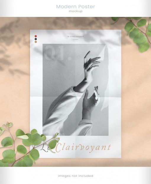 Maquete de pôster moderno com sobreposições de sombra de folha Psd Premium