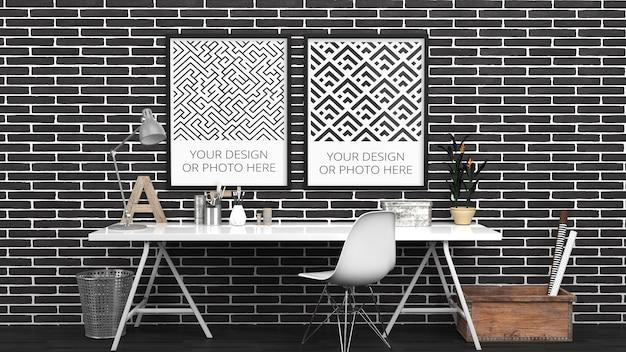 Maquete de pôsteres verticais em tijolo preto escritório doméstico contemporâneo Psd Premium