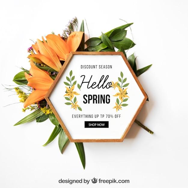Maquete de primavera com moldura hexagonal Psd grátis