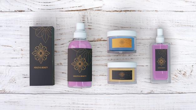 Maquete de produtos de beleza em fundo de madeira Psd grátis
