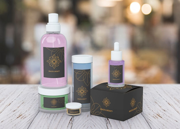 Maquete de produtos de beleza no fundo desfocado Psd grátis