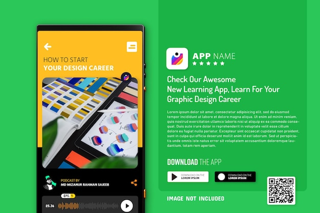 Maquete de promoção de aplicativo de smartphone, logotipo e botões de download com leitura de código qr Psd Premium