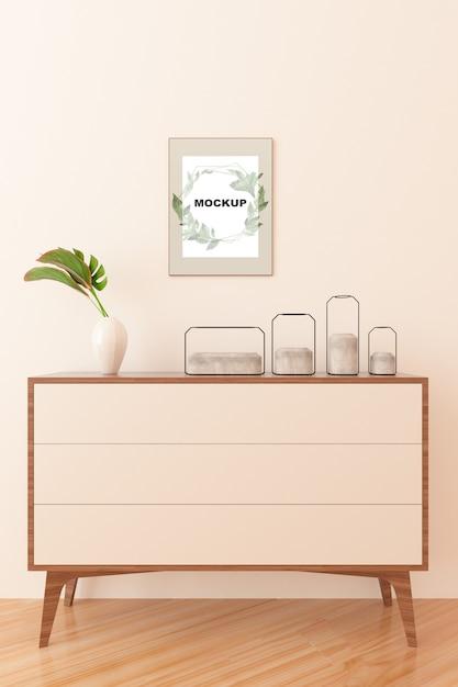 Maquete de quadro acima do armário Psd grátis