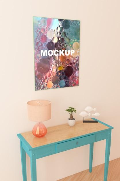 Maquete de quadro acima pequena mesa Psd grátis