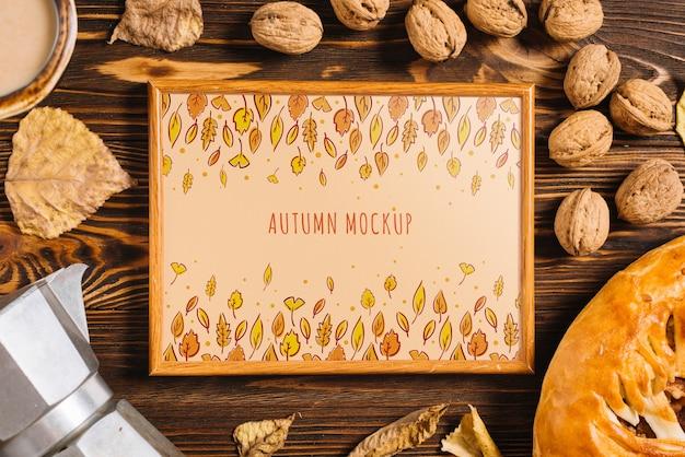 Maquete de quadro com conceito de outono Psd grátis