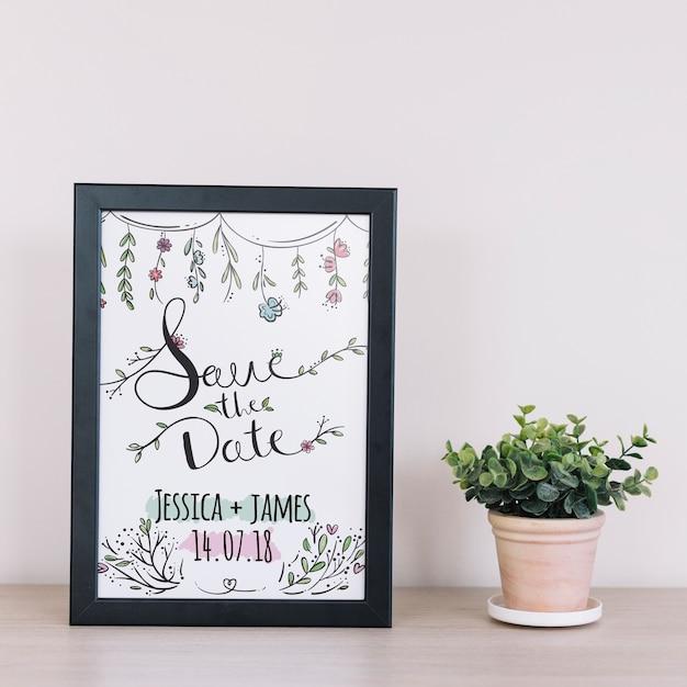 Maquete de quadro com decoração floral Psd grátis