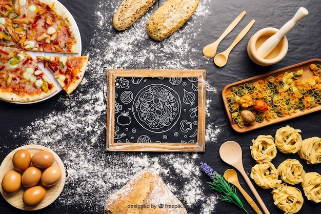 Maquete de quadro com design de pizza Psd grátis